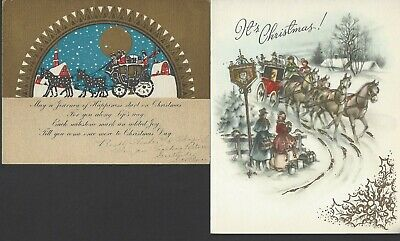 $ CDN1 • Buy 2 Vintage CHRISTMAS CARDS-Horse Drawn Coaches-Used