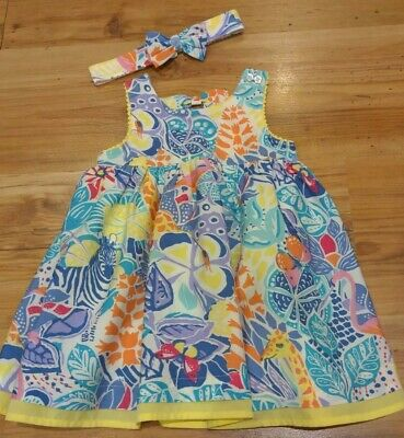 Baby Girl Tropical Animal Print Dress Headband Outfit Age 9-12months • 1.49£