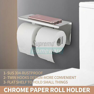 AU41 • Buy Stainless Steel Double Toilet Paper Roll Holder Chrome Wall Cover Storage Hook