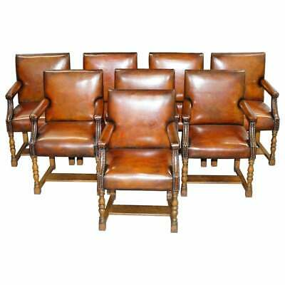 AU44995.74 • Buy 8 Howard & Son's Stamped Circa 1900 Brown Leather Carver Gainsborough Armchairs