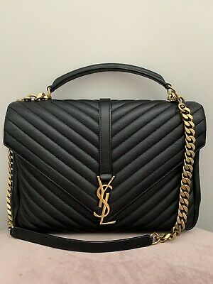 AU2750 • Buy Authentic Large YSL College Large Black & Gold