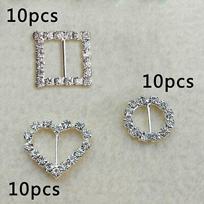 10×Rectangle Circle Heart Square Diamond Rhinestone Crystal Buckle Ribbon Slider • 2.79£