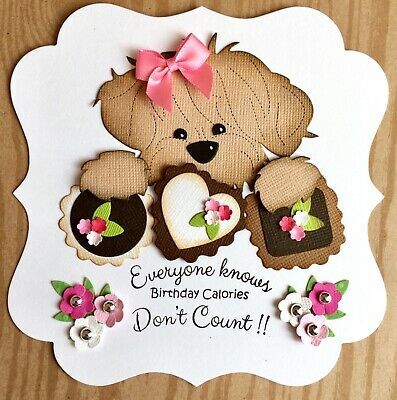 Handmade By Susie Luxury Dog & Chocolates Birthday Calories Quote Card Topper • 1.99£