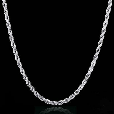 $9.99 • Buy Rope Chain Necklace 2mm Diamond Cut 925 Sterling Silver Plated Rope 16 - 30