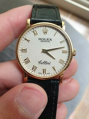AU2999 • Buy Rolex Geneve Cellini 5116 18k Watch Authentic Crocodile Strap Serviced + Box