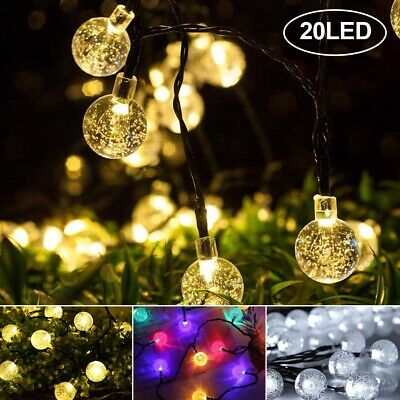 20 Solar Garden Lights String Fairy Multi LED Crystal Globe Ball Weatherproof UK • 5.29£