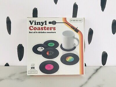 SET OF 6 Boxed Vinyl Records Coasters Place Mats Non-Slip Music Gift Retro New • 0.99£