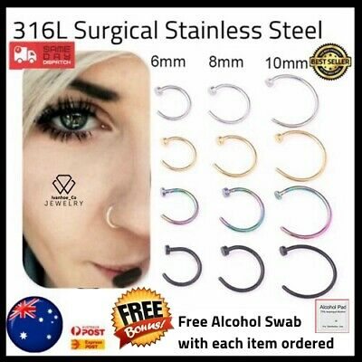 AU2.99 • Buy Nose Lip Ear Ring Hoop Rings Surgical Body Piercing Earring Stud AUS Jeweller