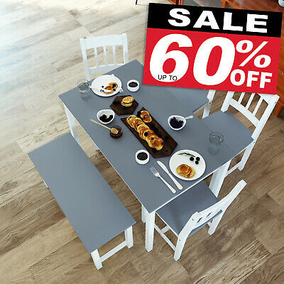 Dining Table And Chairs Bench Set 6 Seat Quality Wooden Choice Dining Room Grey • 146.99£