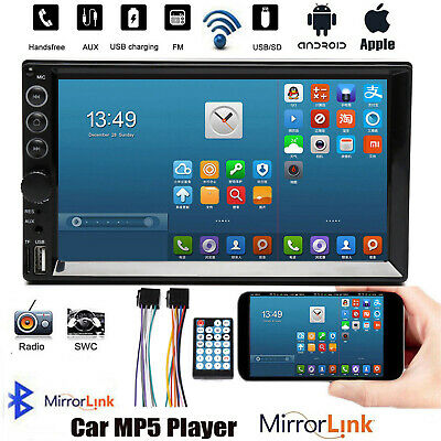 Double 2Din Car Stereo With Power Cable Touch Screen Radio Mirror Link For GPS • 44.69£
