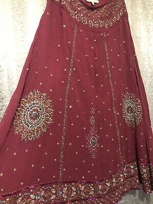 Laura Ashley Size 12 Burgandy Beaded Skirt Indian Boho  • 4.99£