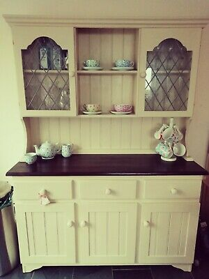SOLD - Welsh Dresser, Annie Sloan Old Ochre And Dark Stained Top • 999£