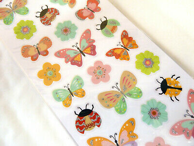 Kids Glitter Sparkly Ladybird, Flower & Butterfly Stickers Labels For Craft WD34 • 2.50£
