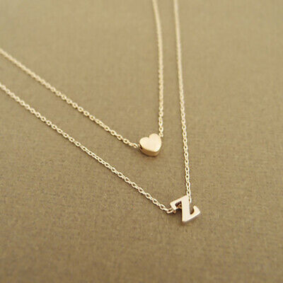 £3.59 • Buy Silver Gold Multi Layer Love Heart Initial Letter Chain Friendship Necklace UK