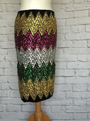 Zara Embellished Bright Multi Pink Gold Metallic Sequin Stretch MidI Skirt M • 18£