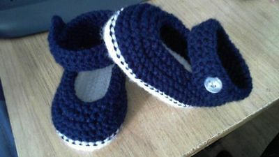 Hand Made Knitted Baby Girls Shoes 3-6 Months NEW Navy • 3£