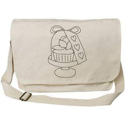 'Heart Tag Cupcake' Cotton Canvas Messenger Bags (MS023490) • 14.99£