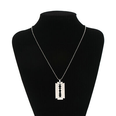 Hip Hop Unisex Razor Blade Shaped Dogtag Necklace Pendant Stainless Steel • 2.52£
