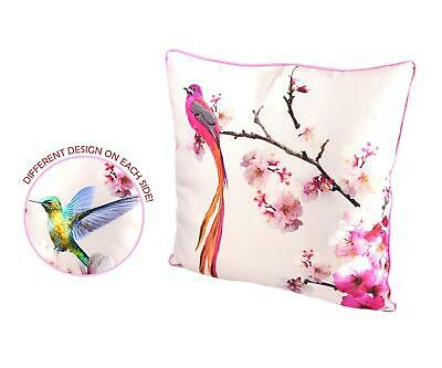 £13.99 • Buy Satin Cushion Pillow Soft Case Cover Blush Birds Floral Pink Cherry Blossom 45cm