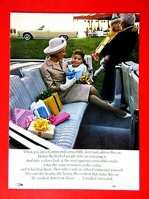 $6.95 • Buy 1964 Lincoln Continental Convertible Original Print Ad 8.5 X 11