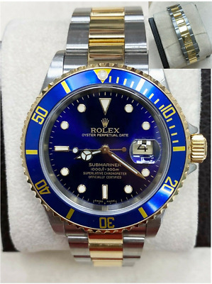 $ CDN12173.39 • Buy Rolex Submariner 16613 Blue Dial 18K Yellow Gold Stainless Steel Gold Through