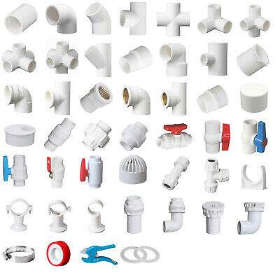 £2.95 • Buy White PVC 32mm ID Pressure Pipe Fittings Metric Solvent Weld Various Parts