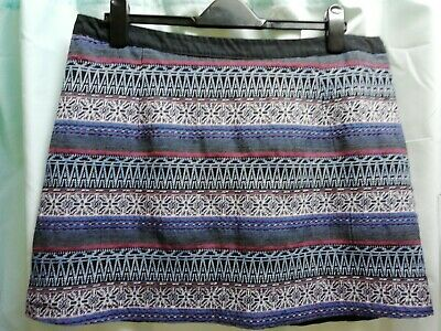 Lottie Funky Skirt, Ethnic Style Fabric, Size Uk 16, 42cm Long, VGC, Lined • 1.65£