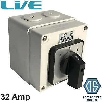£28.95 • Buy Live IP66 Enclosed Changeover Switch 32 Amp 3 Pole Surface Mounted