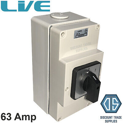 £42.95 • Buy Live IP66 Enclosed Changeover Switch 63 Amp 3 Pole Surface Mounted