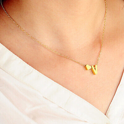 £3.59 • Buy Silver Gold Love Heart Letter Initial Friendship Bridesmaid Chain Necklace Gift