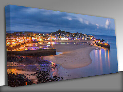 £26 • Buy Dusk Overlooking St Ives Cornwall Panoramic Canvas Wall Art Picture Print