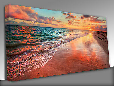 £39 • Buy Colorful Sea Beach Sunset Panoramic Canvas Wall Art Picture Print