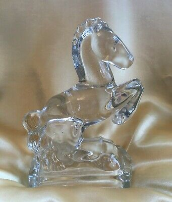 $10 • Buy Vintage L E Smith Clear Glass Rearing Horse 1940's Bookend