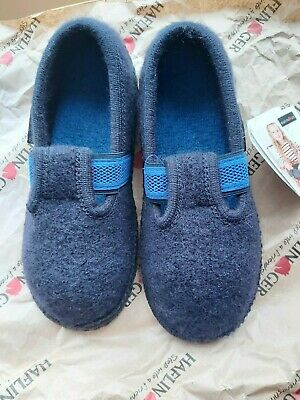NEW Boys Haflinger Slippers Charcoal And Blue Size 31 (12) • 13£