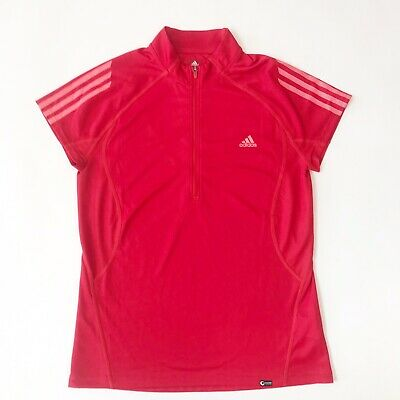 $11.69 • Buy Adidas Women's Half Zip Polo Golf Cocona Tech Shirt Outdoor Active Red  - Size L