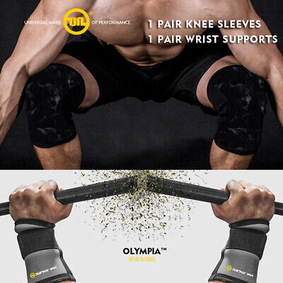 AU52.20 • Buy Knee Sleeves 7mm Squat Wrist Straps Viva Athletic Sbd Weight Lifting A7 Strong