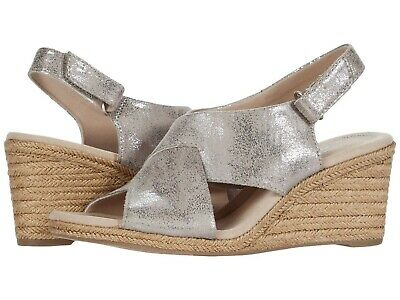 Women's Shoes Clarks LAFLEY ALAINE Leather Espadrille Wedge Sandals 48135 PEWTER • 57.19£