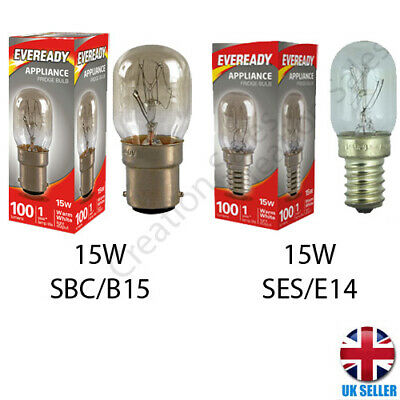Fridge Bulb 15W E14 B15 Refrigerator Freezer Pygmy Appliance Lamp SES Screw • 2.59£
