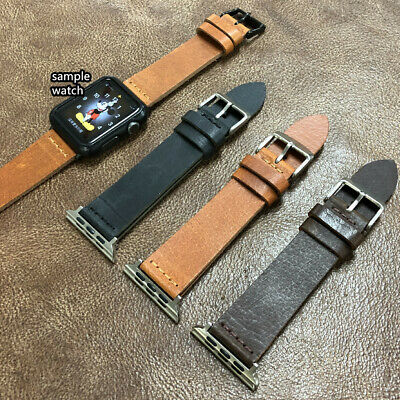 $ CDN15.50 • Buy Apple Watch S1/2/3/4/5 Vintage Look L-Brown Cow Leather Watch Strap Band A-154
