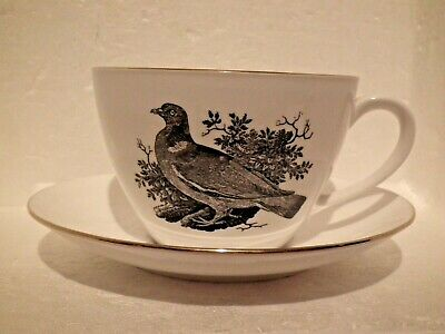 Crown Staffordshire Breakfast Cup Saucer Bird Series By Thomas Bewick RING DOVE • 10.30£