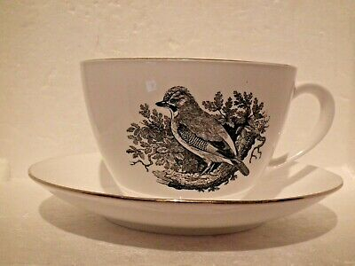 Crown Staffordshire Breakfast Cup & Saucer Bird Series By Thomas Bewick THE JAY • 10.30£