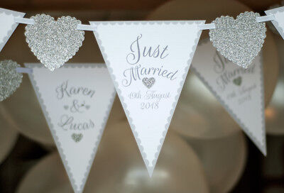 Personalised Wedding Bunting Custom Mr And Mrs Silver Just Married Banner Civil  • 12.95£