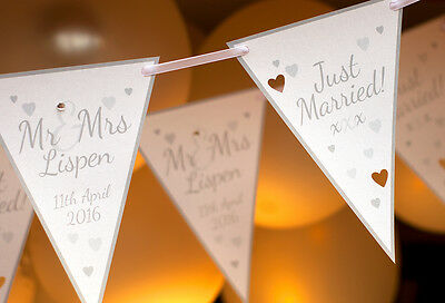 Silver Wedding Bunting Personalised Just Married Mr And Mrs Card Banner Heart • 9.95£
