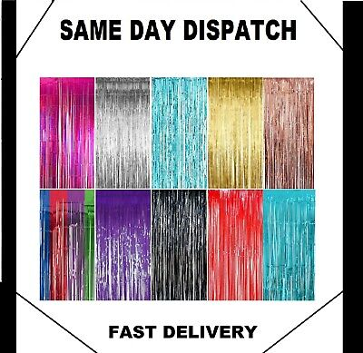 New Tinsel Shimmer Foil Door Curtain Garlands Birthday Party Disco Decorations • 2.90£