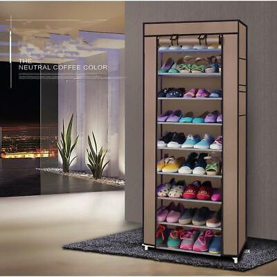 £9.65 • Buy 10 Tier Double Canvas Shoe Standing Storage Organiser Rack Holds 27 Pairs