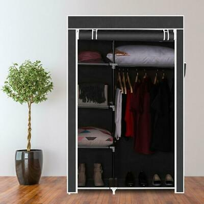 Portable FABRIC CANVAS WARDROBE WITH HANGING RAIL SHELF CLOTHES STORAGE CUPBOARD • 16.95£