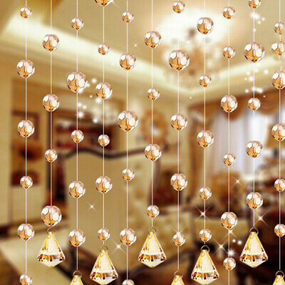 Glass Crystal Bead Curtain Home Living Room Bedroom Wedding Decor String T • 2.63£