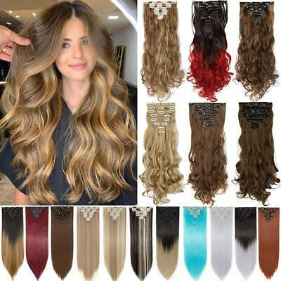 NEW 100% Natural Wave / Straight Clip In Hair Extensions Full Head Extentions Uk • 7.90£