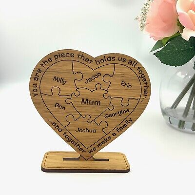 Personalised Mothers Day 'Mum Holds Family Together' Freestanding Oak Gift Mummy • 11.99£