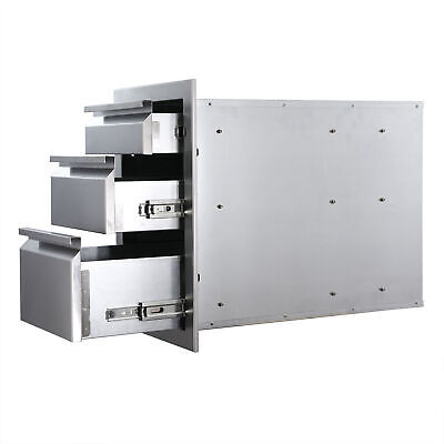 $150.39 • Buy 14 Inches Triple Worktable Outdoor Kitchen Drawer BBQ Drawer Stainless Steel